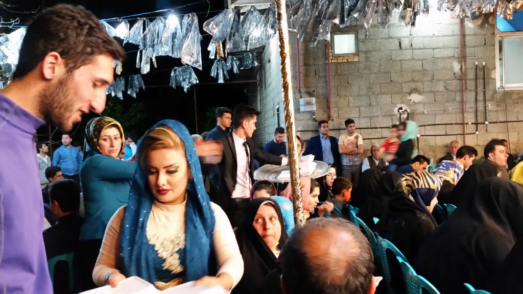 Passing out the food, Village Wedding Party, Iran.