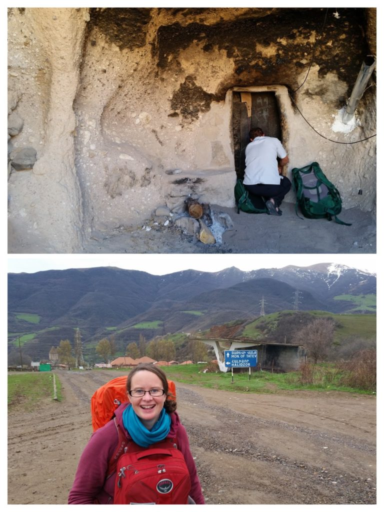 Packs are more practical than suitcases when you are staying in caves or wandering on gravel roads!