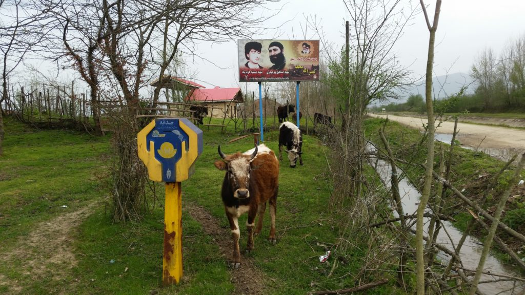 Even in the smallest of rural villages there were signs with the photos of those who died in the Iran Iraq war.