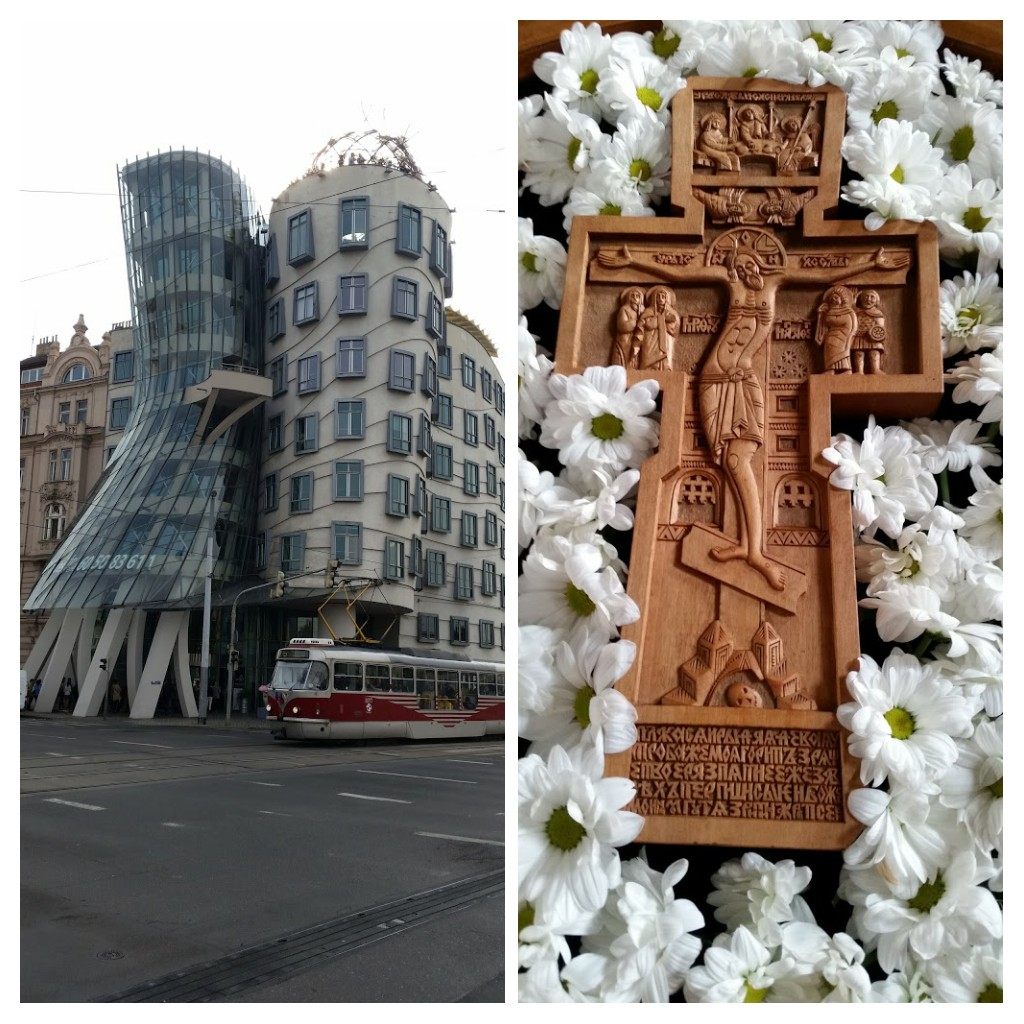 Frank Gehry's Dancing House & a Cross from a nearby church.