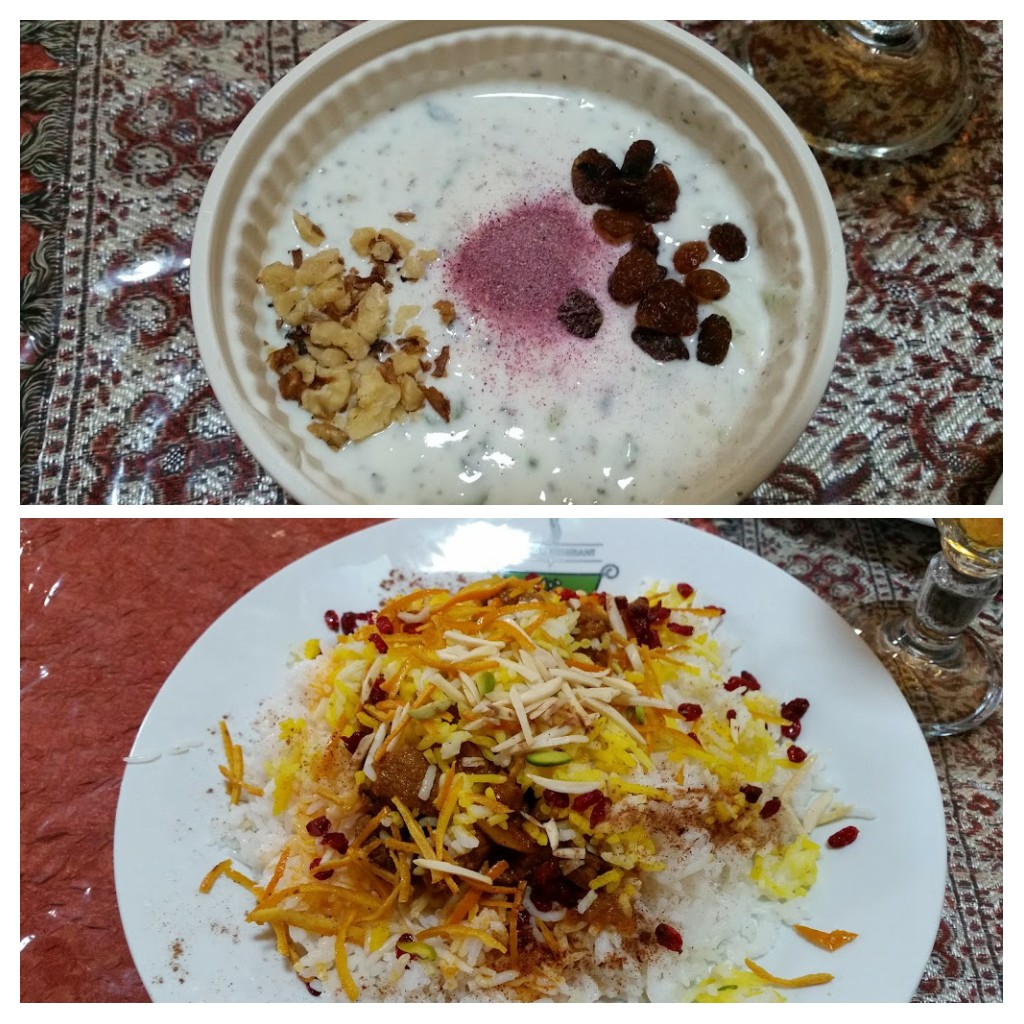 Something vegetarian for me - even simple things like rice and yoghurt are so beautifully presented! Qazvin Bazaar.