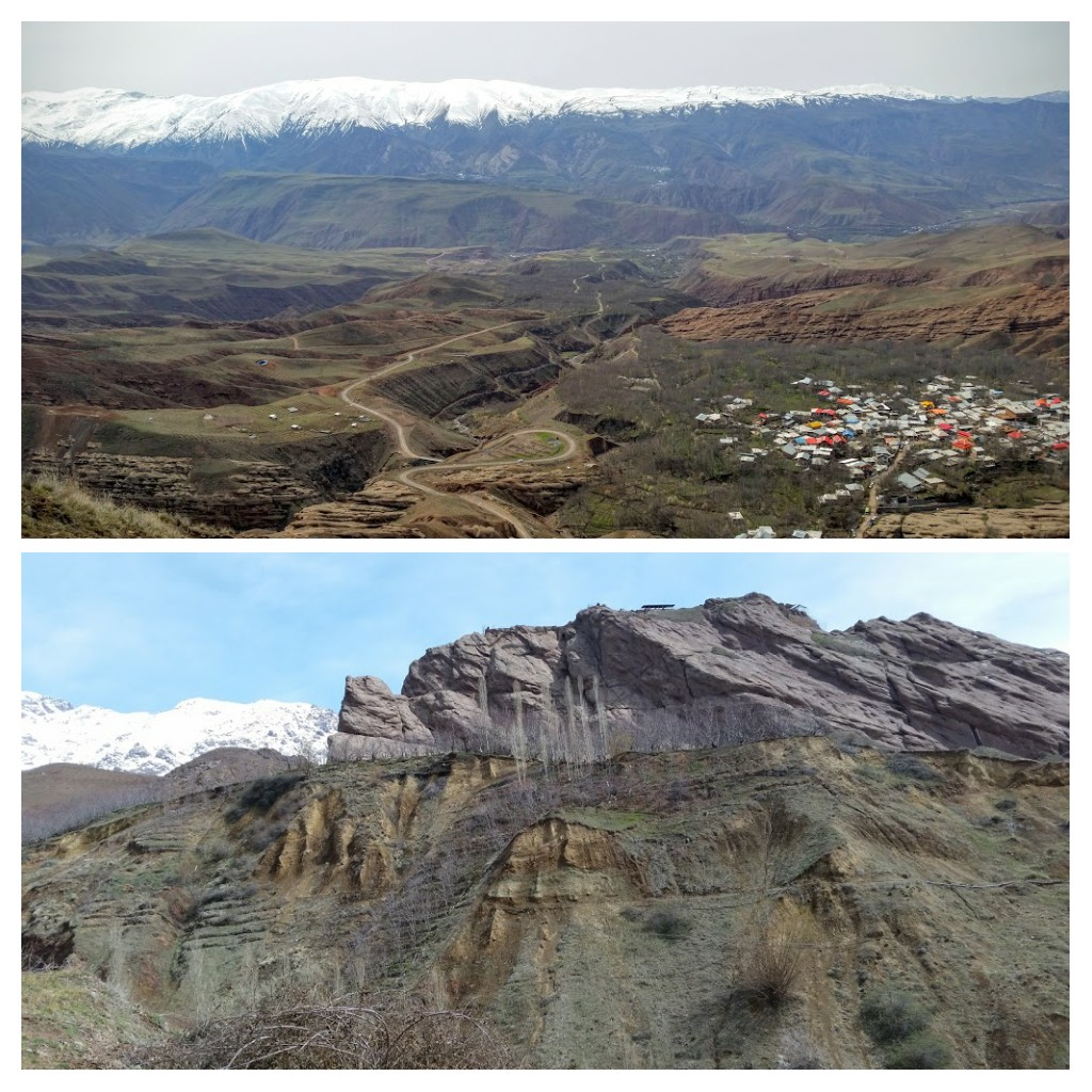 Top: Looking down from the Alamut Castle. Bottom: Looking up at the rock the castle was built on.