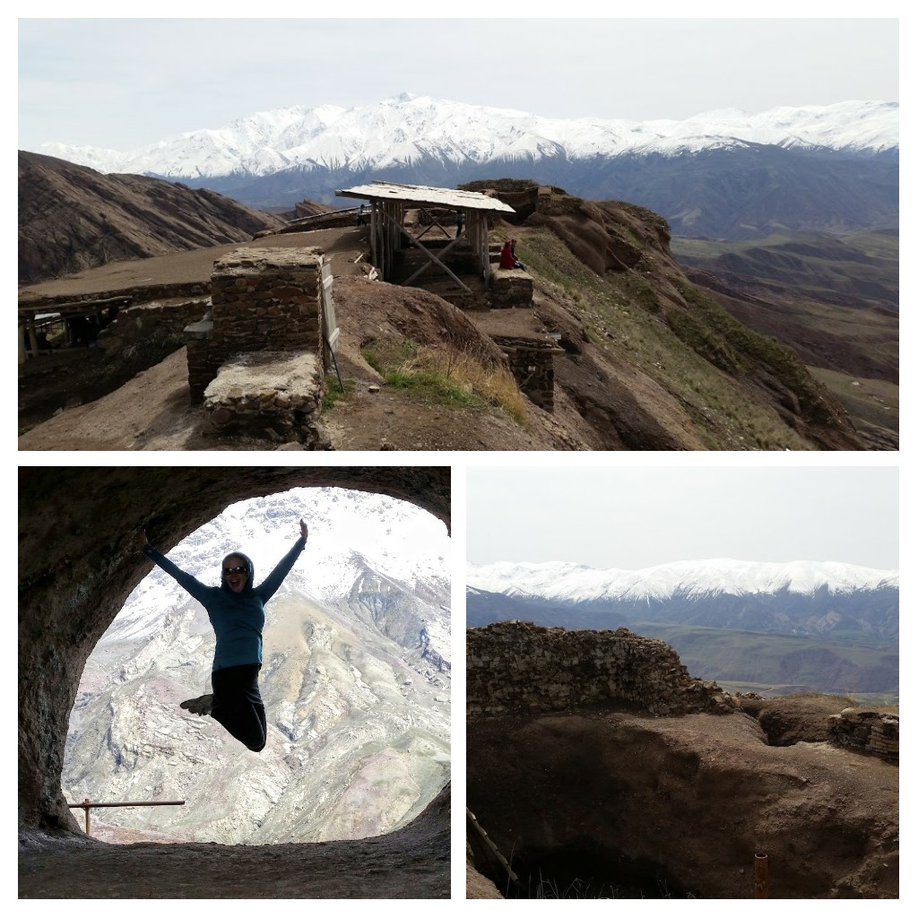 Top: Alamut Castle ruins, (L) in the tunnel, (R) ruins of a water reservoir.