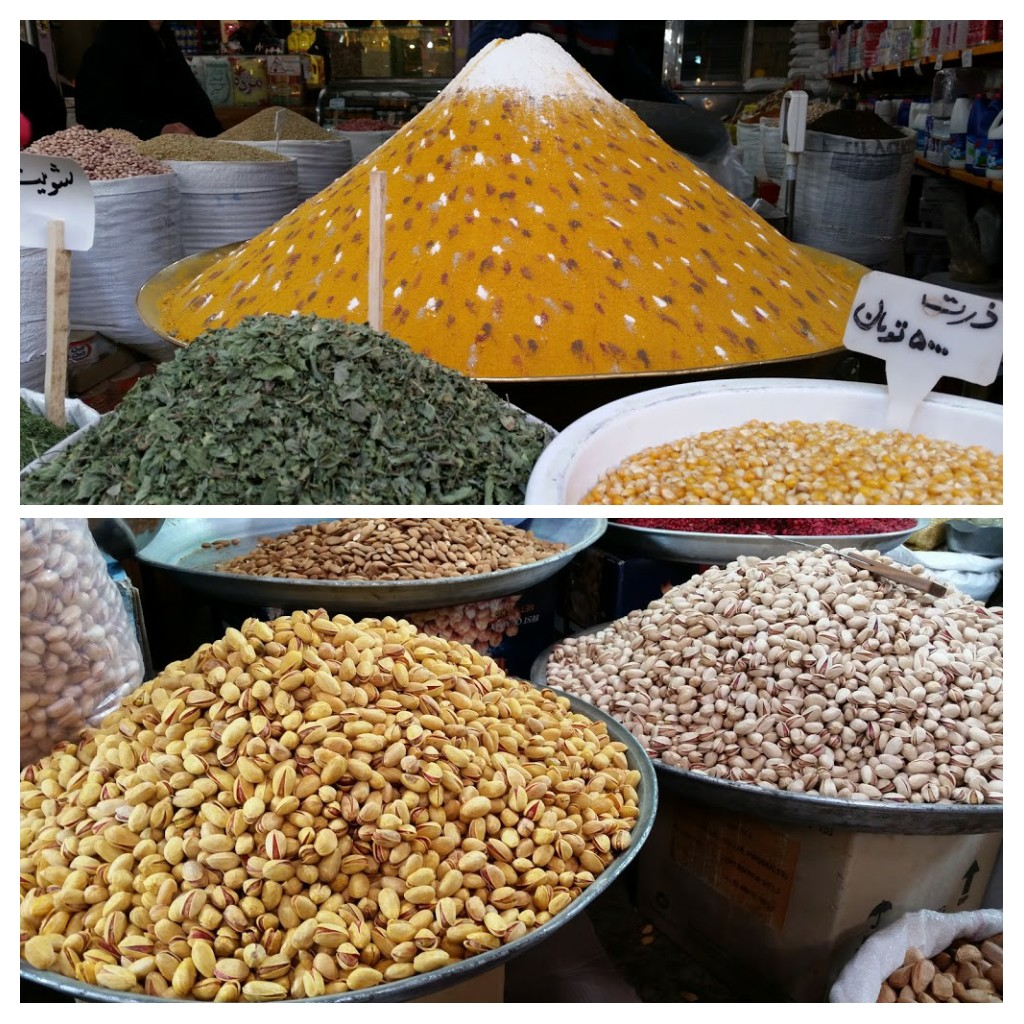 Nuts, spices, dried fruit, rice, beans etc all in sacks or containers at markets, often creatively displayed.