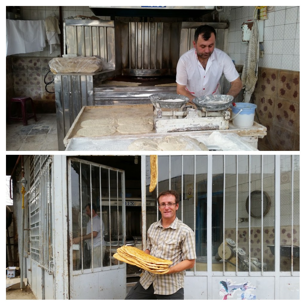Baker in a village in Gilan province. Note the bread hung up outside to let ppl know it was a bakery!